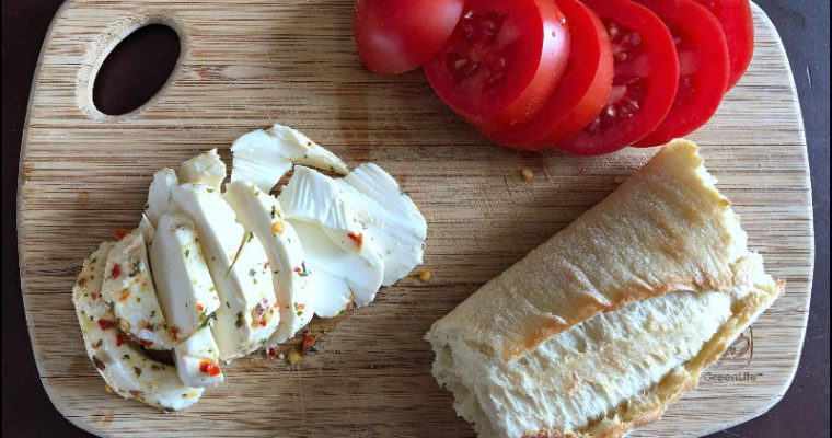 The best lunch: Priano Marinated Mozzarella, Specially Selected Baguette (now non-GMO!), and fresh tomatoes