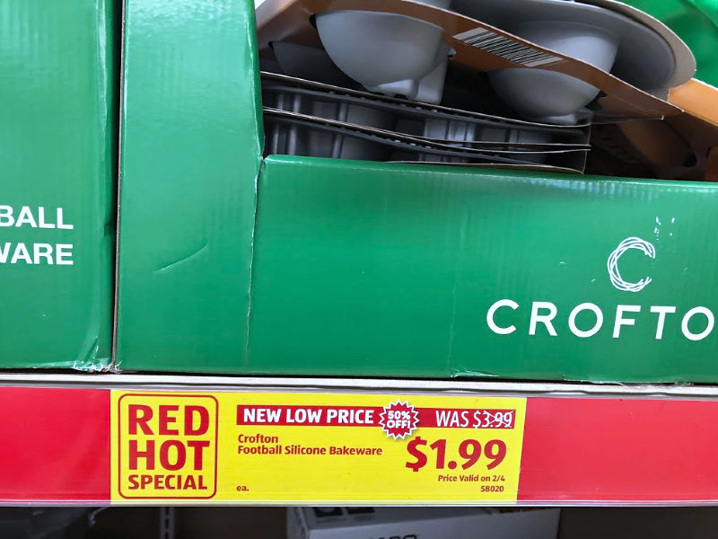 red hot special buys tag at aldi