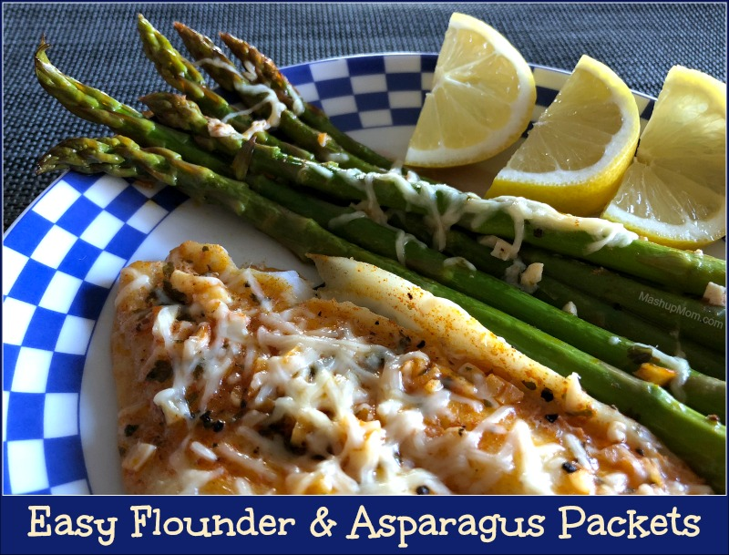 easy flounder and asparagus packets