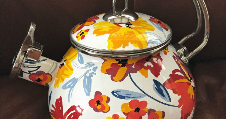 My new colorful Crofton tea kettle — And what did YOU find on ALDI Clearance lately?!
