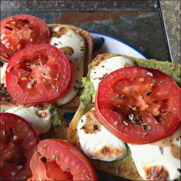open face caprese sandwiches in this week's meal plan