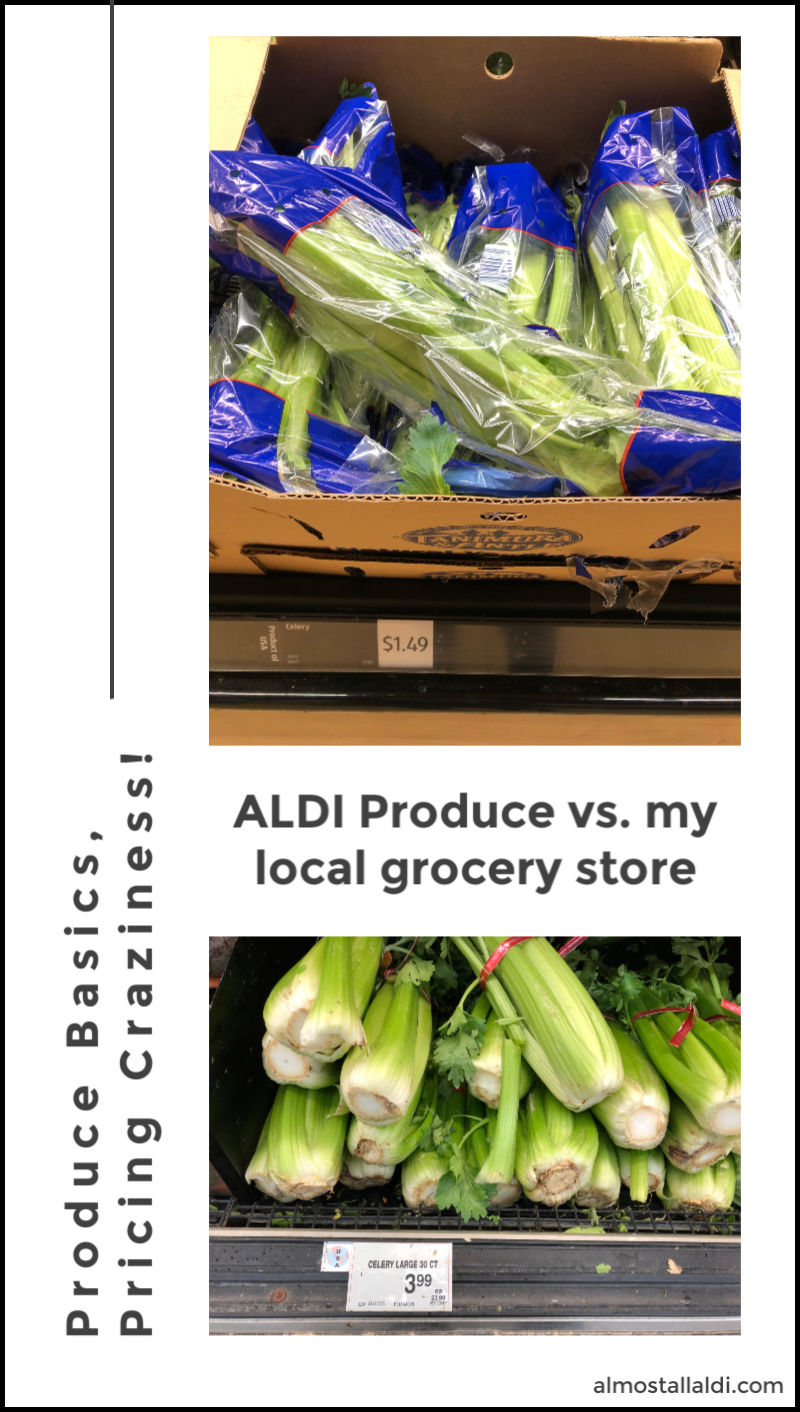 aldi produce prices vs grocery store produce prices -- celery is much cheaper