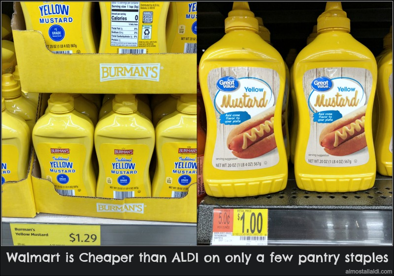 walmart vs aldi pantry staples pricing: Shows yellow mustard prices