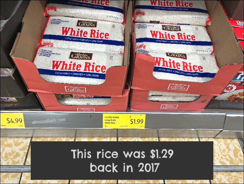 long grain rice price tag at ALDI