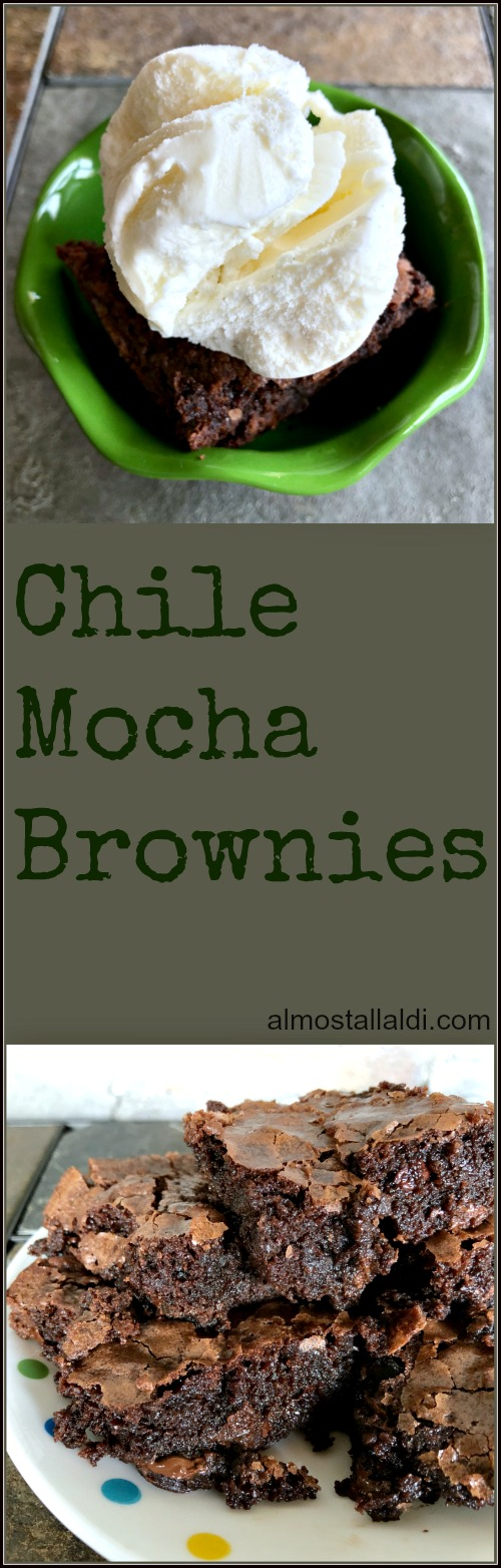 Chile mocha brownies: A super easy all ALDI recipe using Baker's Corner Fudge Brownie Mix and a few simple add-ins! Try topping with vanilla ice cream :). | almostallaldi.com