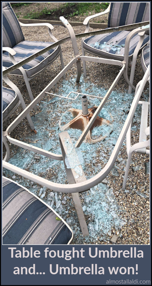shattered glass patio table
