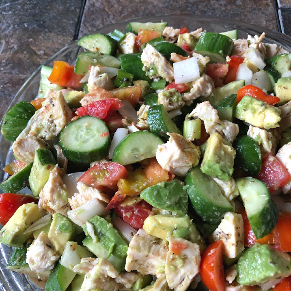 chopped chicken tomato cucumber salad