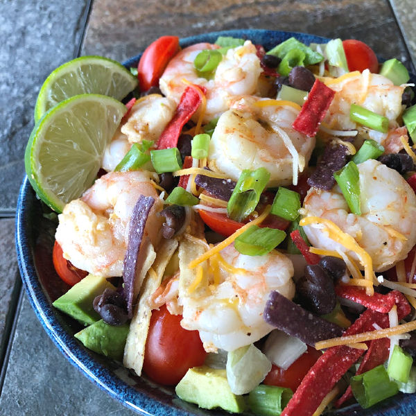 shrimp taco salad with ALDI shrimp