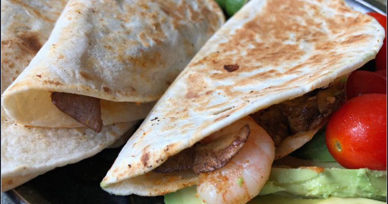 Shrimp & Mushroom Quesadillas — A great use for your ALDI Shrimp!