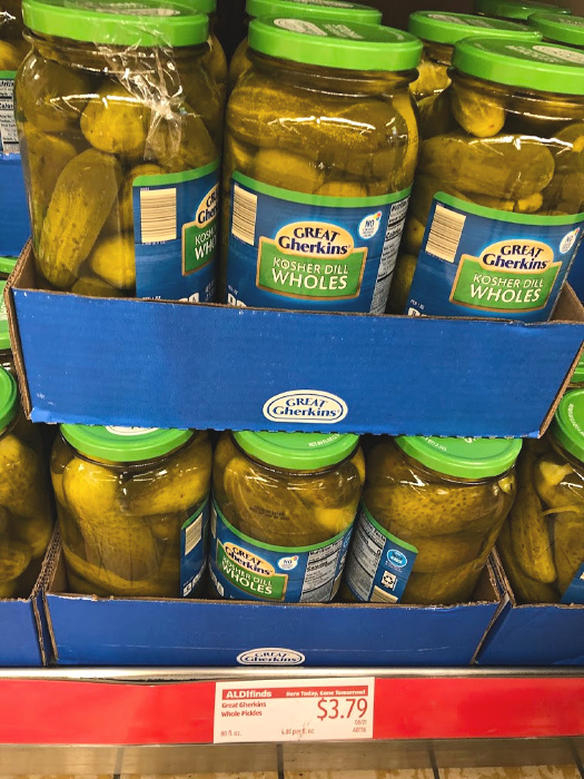 Great Gherkins Kosher dill wholes at ALDI