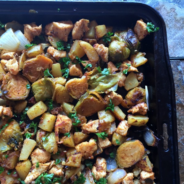 sheet pan chicken dinner with Brussels sprouts & potatoes