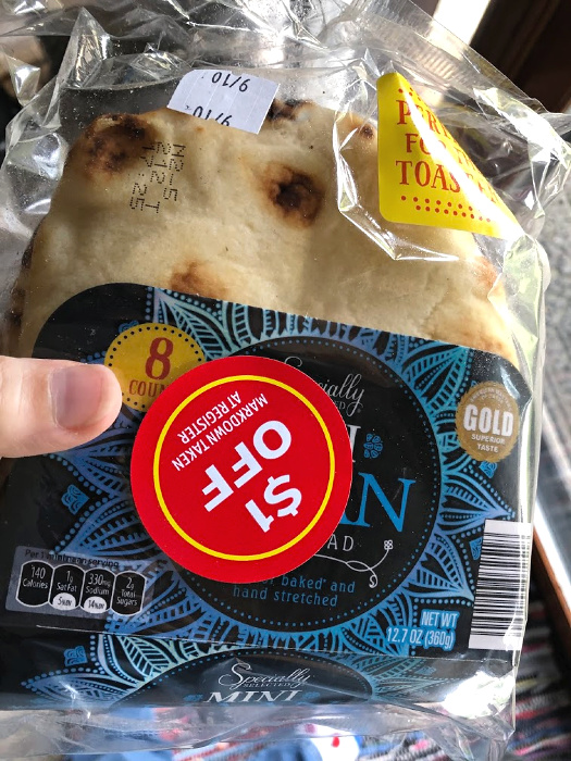 ALDI mini naan with a clearance sticker