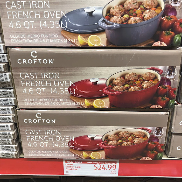 Crofton cast iron French oven 4.6 quart on the shelf in the store