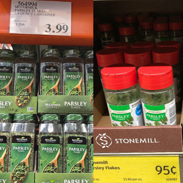 parsley is cheaper at Costco than at ALDI