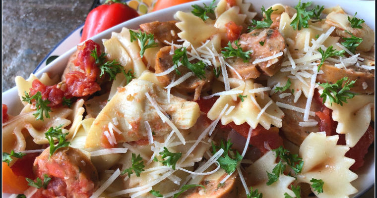 Chicken Sausage & Artichoke Pasta, an all ALDI recipe