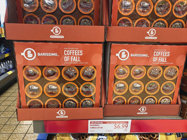 barissimo coffees of fall on the shelf at aldi