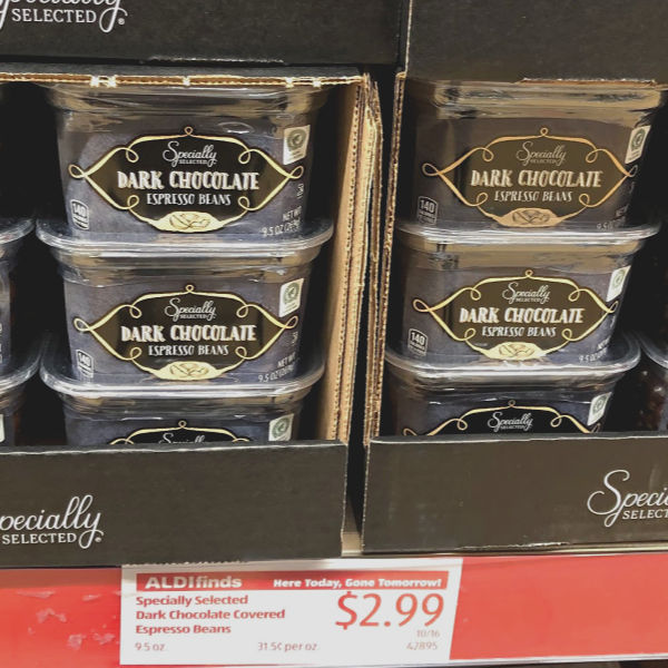specially selected dark chocolate espresso beans on the shelf at ALDI