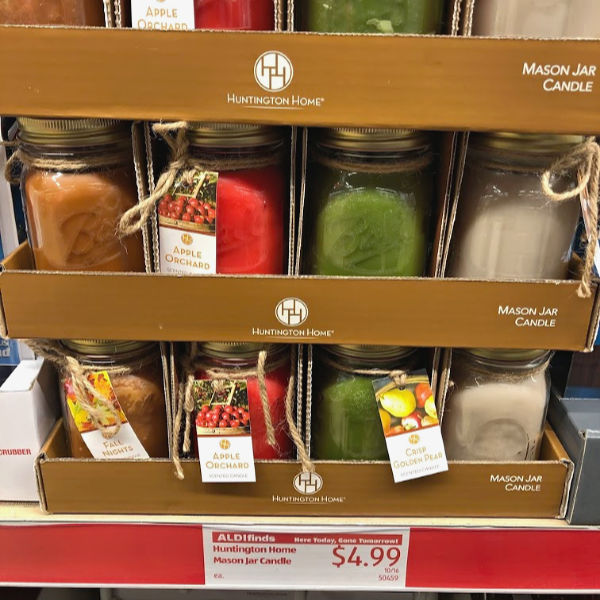 huntington home mason jar candles in fall scents, on the shelf at ALDI