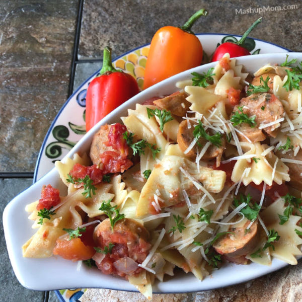 chicken sausage and artichoke pasta