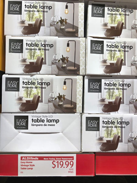 Easy Home vintage style table lamp on the shelf at ALDI