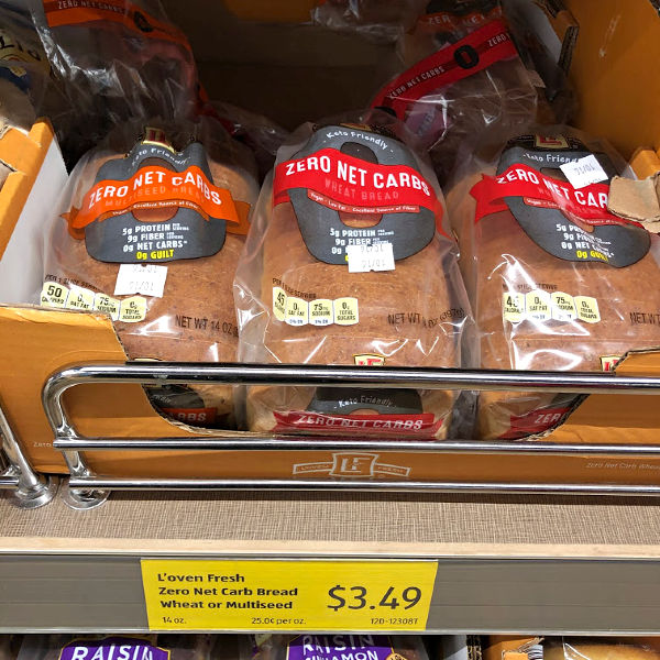 L'Oven Fresh zero net carbs bread on the shelf at ALDI