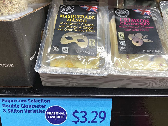Emporium Selection masquerade mango or crimson cranberry cheese at ALDI