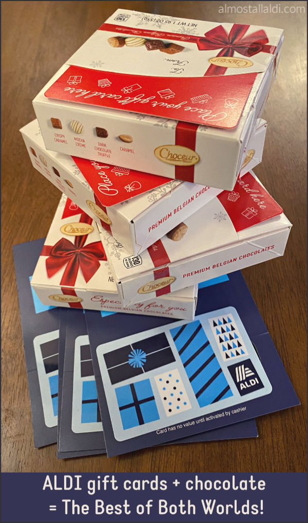 ALDI gift cards and chocolate = a tower of treats