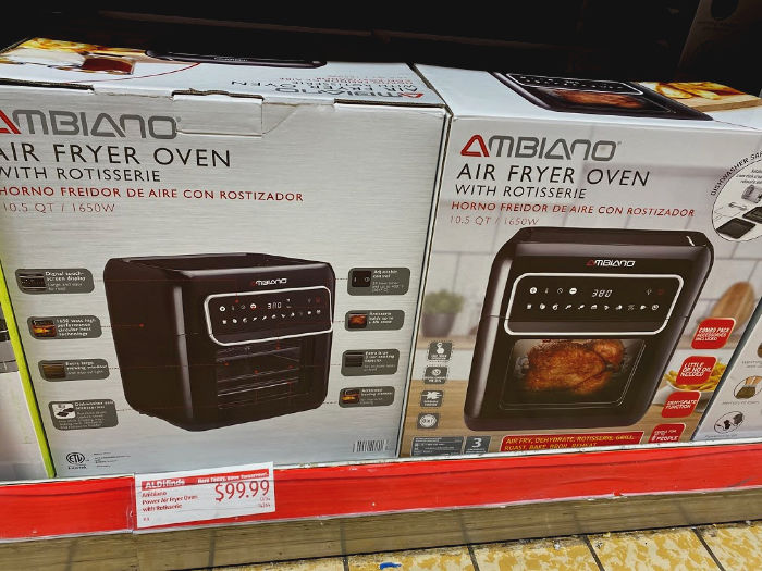 Ambiano air fryer oven with rotisserie at ALDI