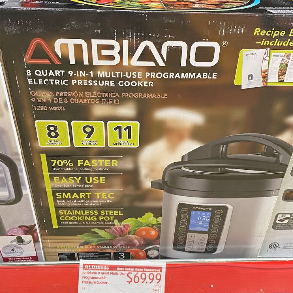 Ambiano eight quart 9-in-1 electric pressure cooker on the shelf at ALDI