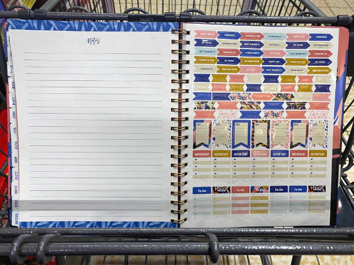 stickers and notes pages in pembrook planners at aldi