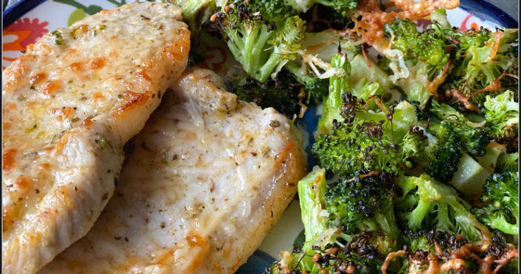 Broiled Pork Chops & Broccoli: An all ALDI recipe