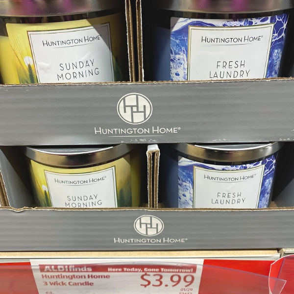 Huntington Home 3 wick candles at ALDI