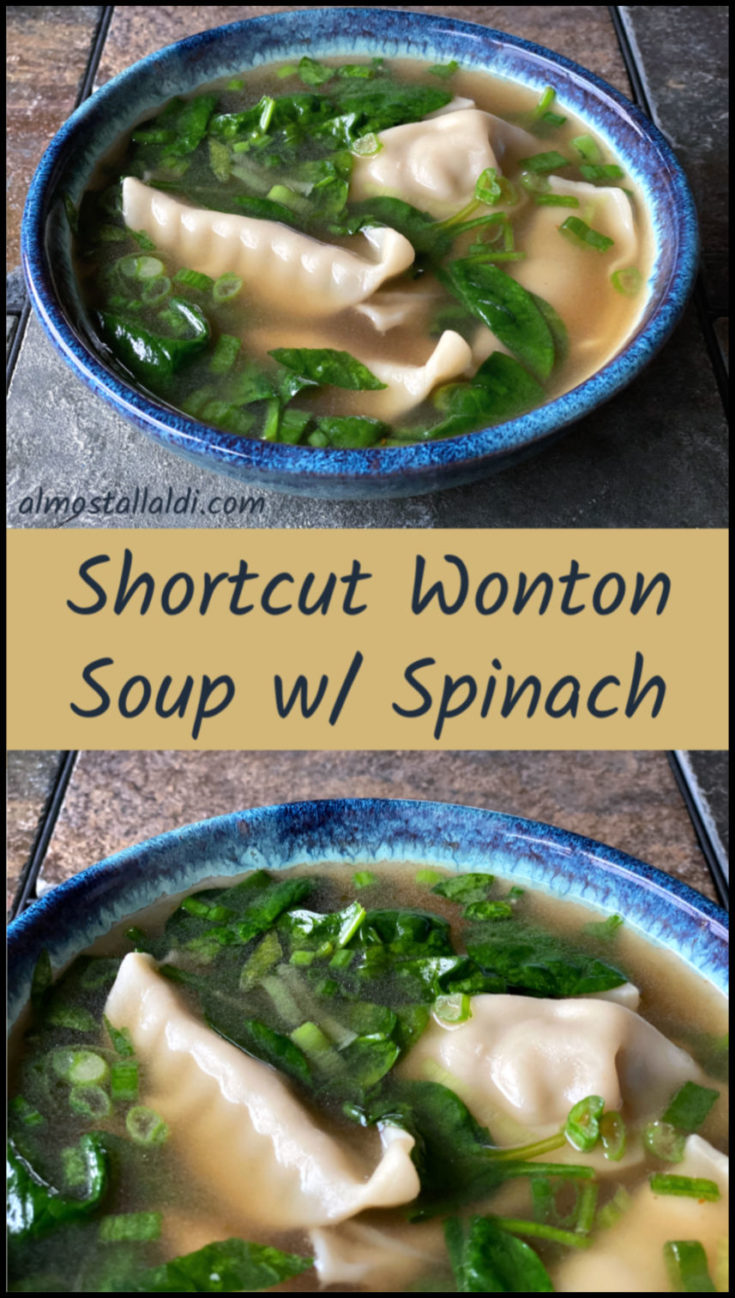 Shortcut wonton soup with spinach takes advantage of frozen potstickers (or wontons) to cut down on the prep time tremendously! Fresh spinach adds a pop of color and nutrition to this easy 20 minute weeknight dinner recipe.