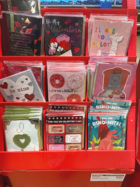 Valentine's cards at ALDI for $.99 each