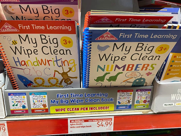 wipe clean learning books at ALDI