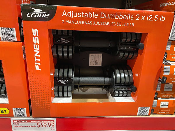 Adjustable dumbbells at ALDI