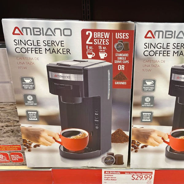 Ambiano single serve coffee maker at ALDI uses K-Cups or grounds