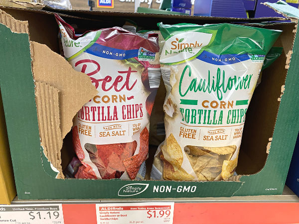 Beet or cauliflower corn tortilla chips at ALDI