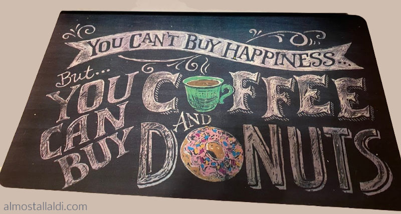 you can buy coffee and donuts kitchen mat at aldi