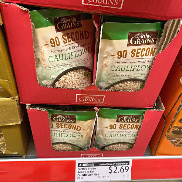 Earthly Grains cauliflower rice on the shelf at ALDI