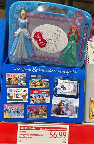 Phidal storybook & magnetic drawing pad at ALDI