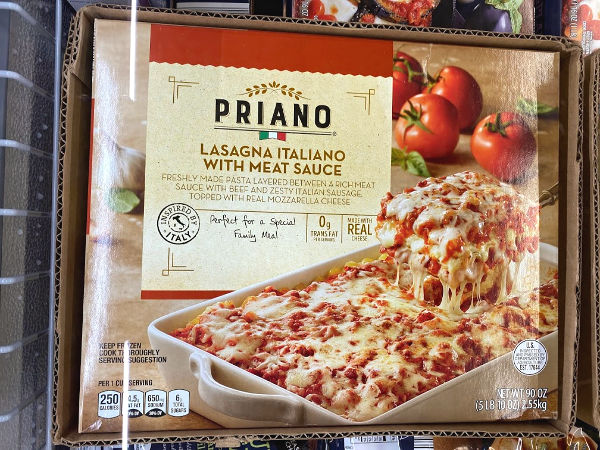 5 lb Priano lasagna Italiano with meat sauce on the shelf at ALDI