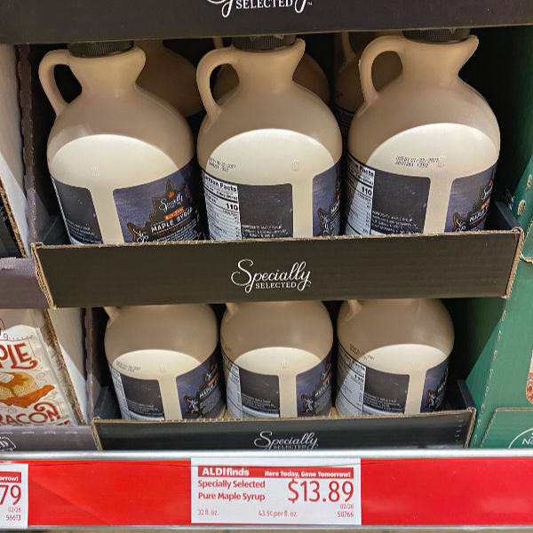 32 oz pure maple syrup on the shelf at ALDI