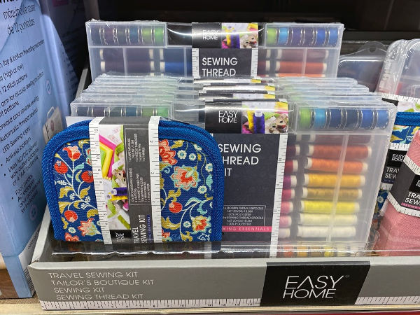 sewing kits and travel sewing kits on the shelf at ALDI