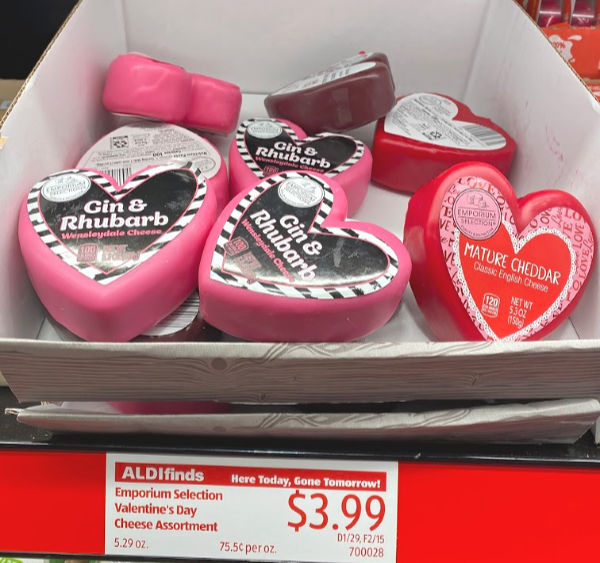 heart shaped cheese at ALDI for Valentine's Day