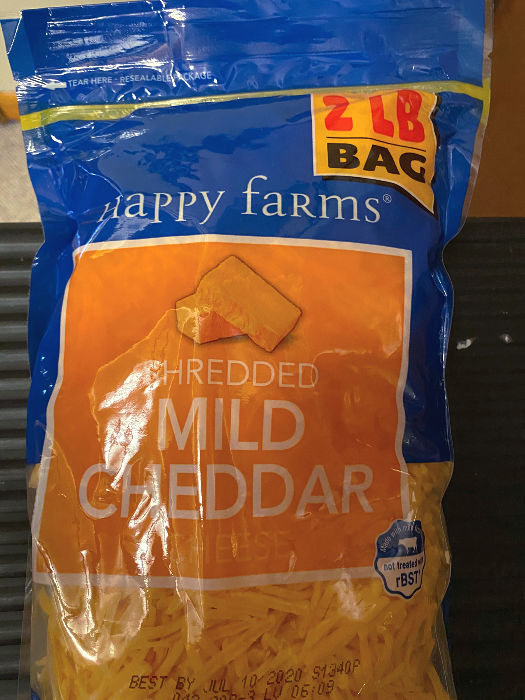 2 lb bags of Happy Farms cheese at ALDI