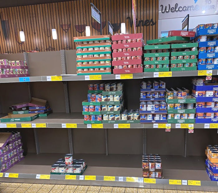 ALDI is restocking canned beans with a limit of four cans.