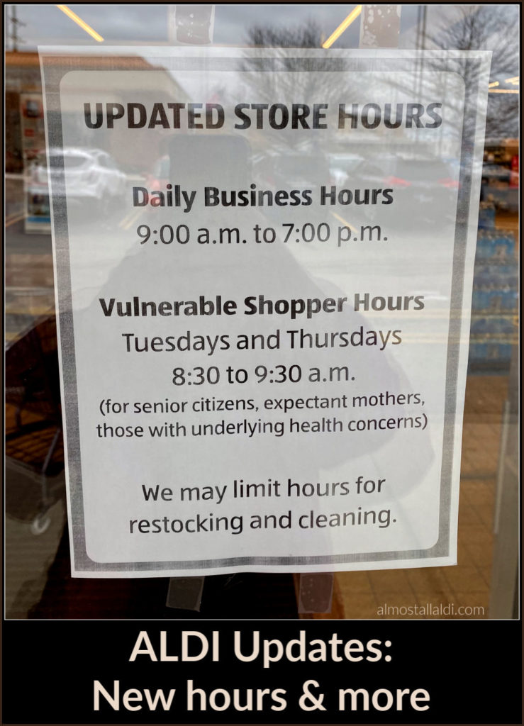ALDI updates during social distancing and grocery store craziness: New hours, ALDI is hiring, employee wage increases, and more.