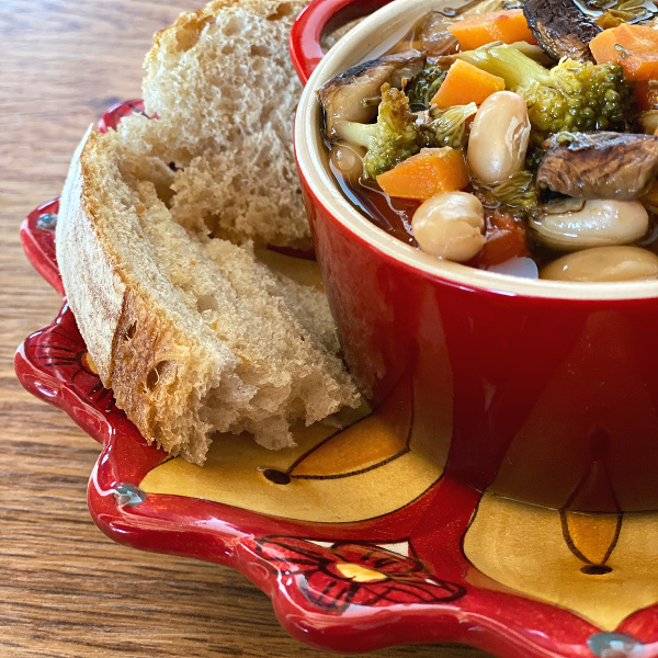 bowl of chicken and roasted vegetable soup