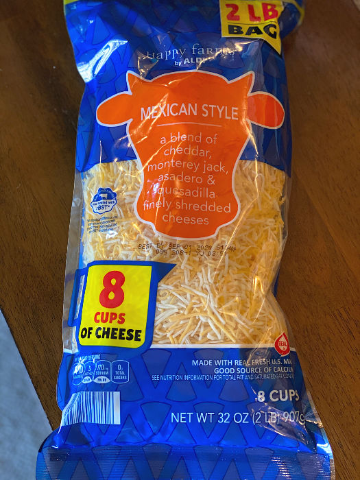 2 lbs Mexican shredded cheese at ALDI